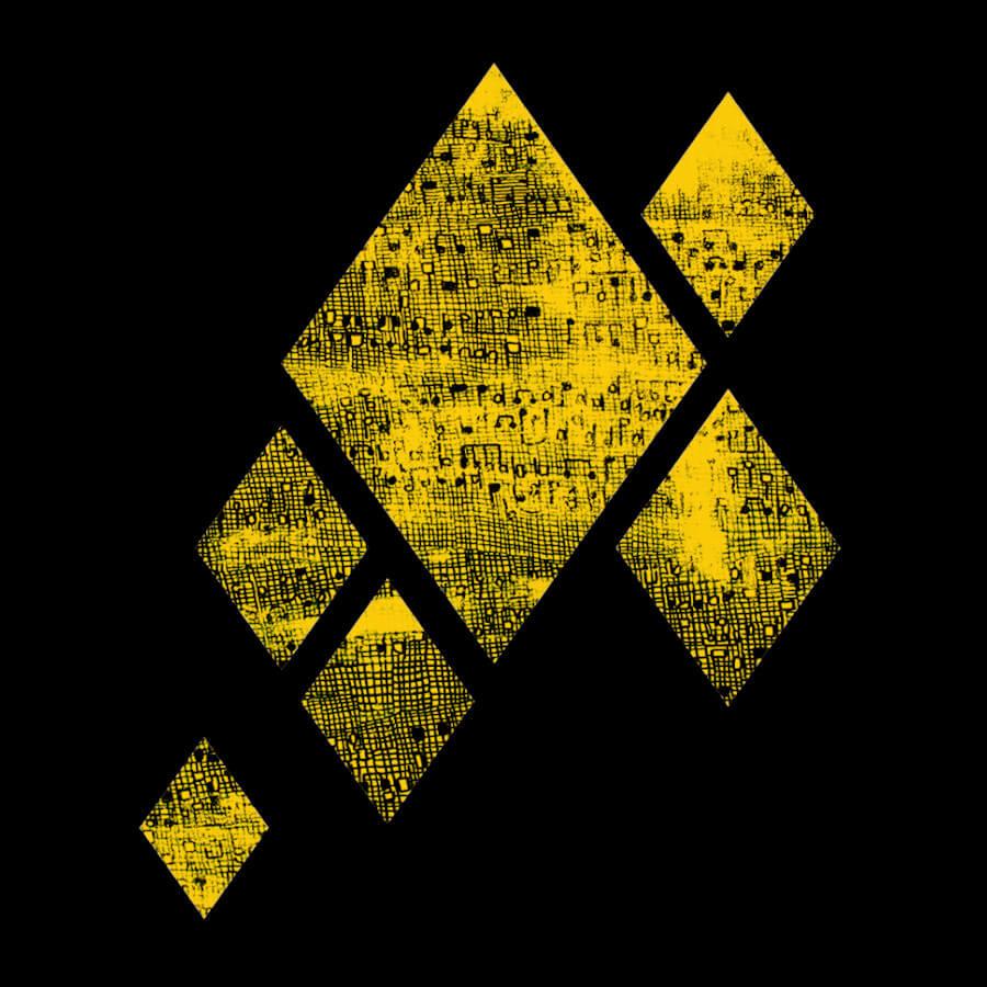 Am Bild sind Ausschnitte eines Ölgemäldes in Form von fünf Rauten. Eine große in der Mitte und vier kleinere arrangieren sich rund um die große Raute Alle haben einen gelben Hintergrund mit vielen kleinen schwarzen Musiknoten.