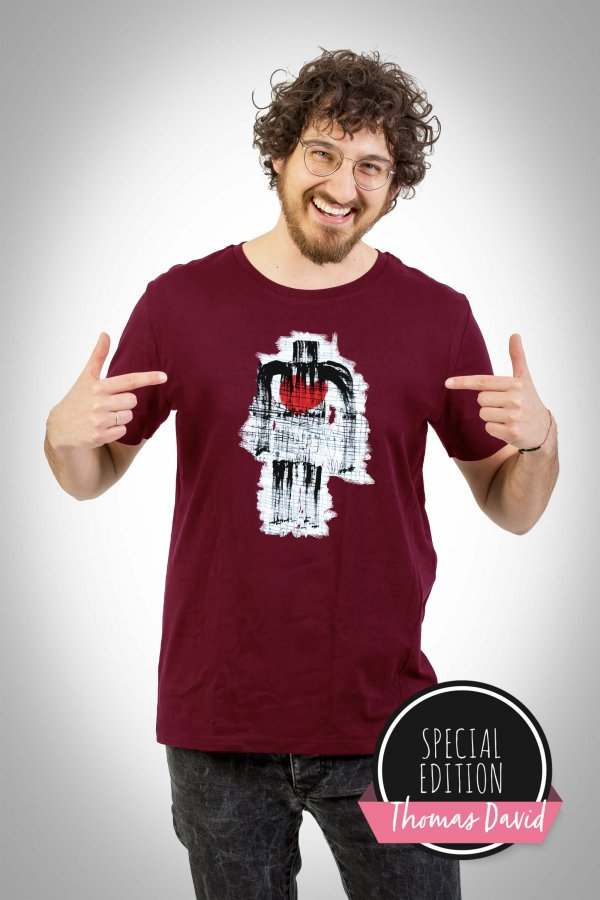 Men with Heart Shirt burgundy