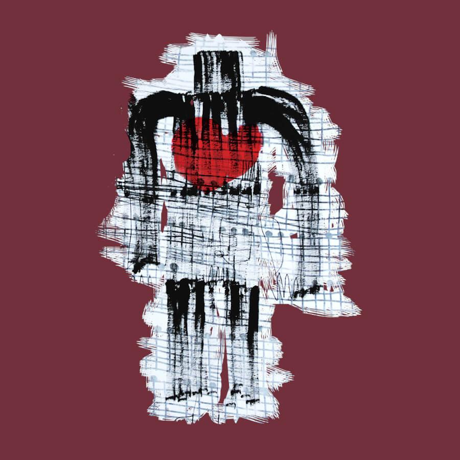 Eine große männliche Figur in schwarz-weiß, die in der Mitte ein rotes Herz hat. Der Hintergrund ist weiß, so dass sich die Figur gut abhebt. Das Motiv wurde für Singer-Songwriter Thomas David und für den Vatertag 2018 entworfen.
