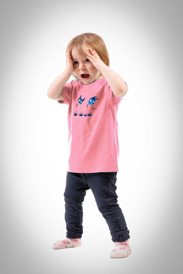 Unisex Kinder Shirt cotton pink mit Motiv der Sturm