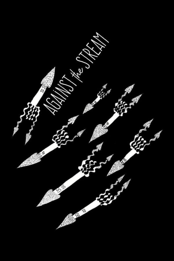 """Raketenähnliche Kalmare. Es sind weiße Strichzeichnungen. Alle Kalmare fliegen in die gleiche Richtung. Nur einer nicht. Der bewegt sich umgedreht in die gegensätzliche Richtung. Der passende Spruch zum Bild heißt """"Against the Stream""""."""