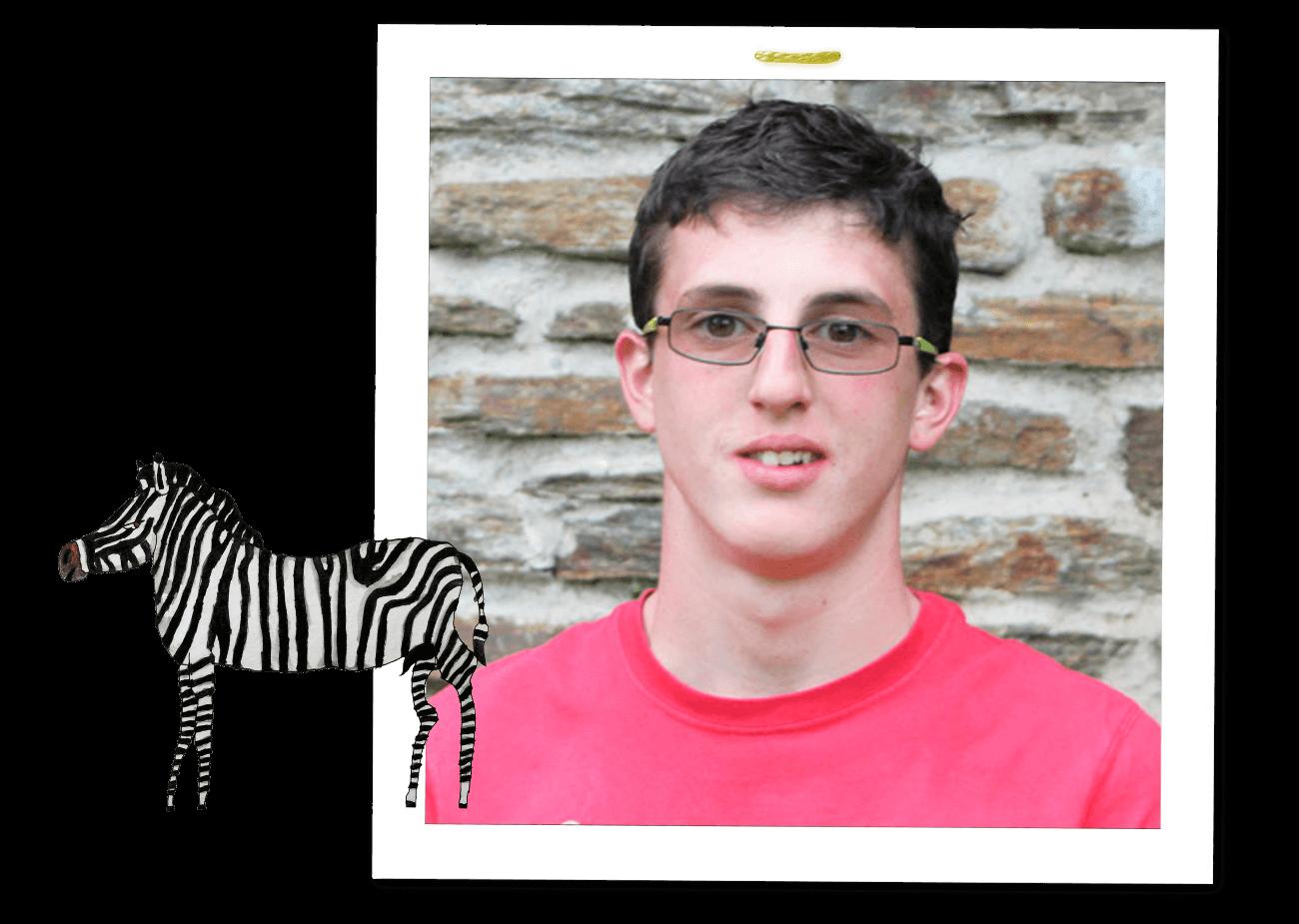 Albert Masser Portrait mit Zebra