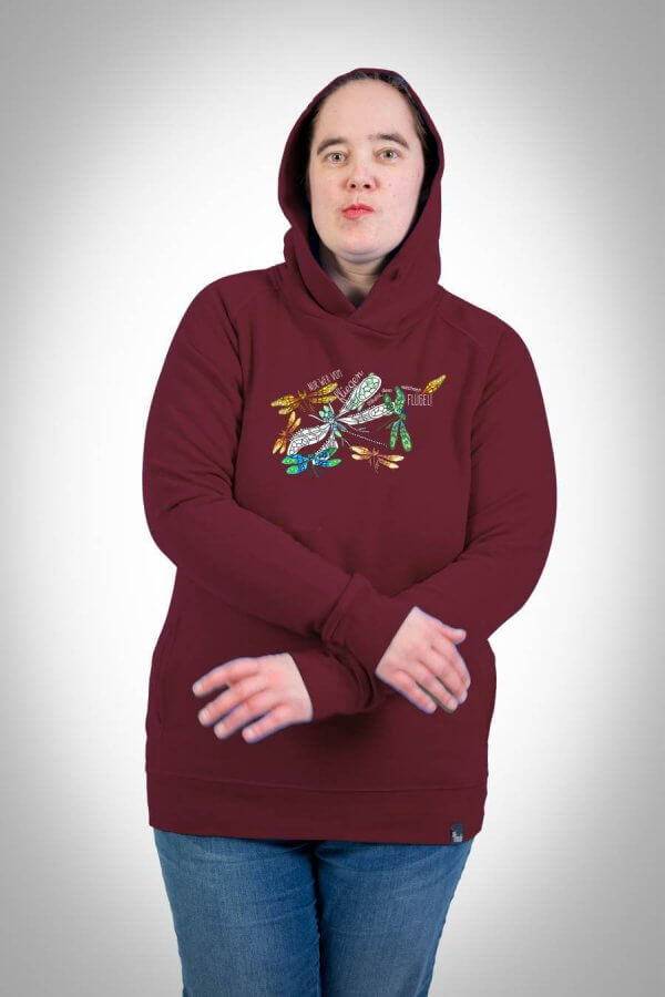 Damen Hoodie Motiv Libellen burgundy