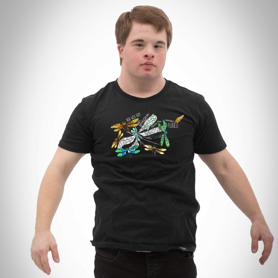 Herren T-Shirt Motiv Libelle black
