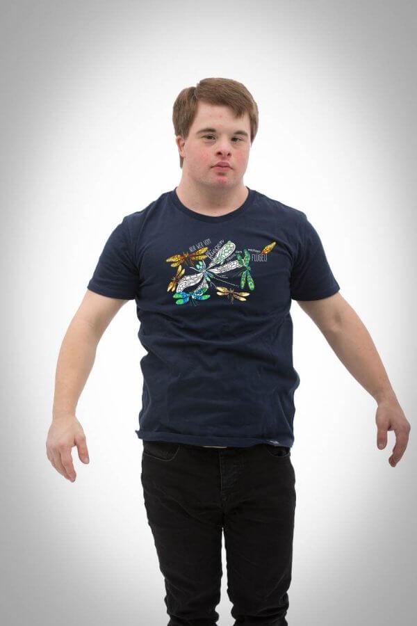 Herren T-Shirt Motiv Libelle navy