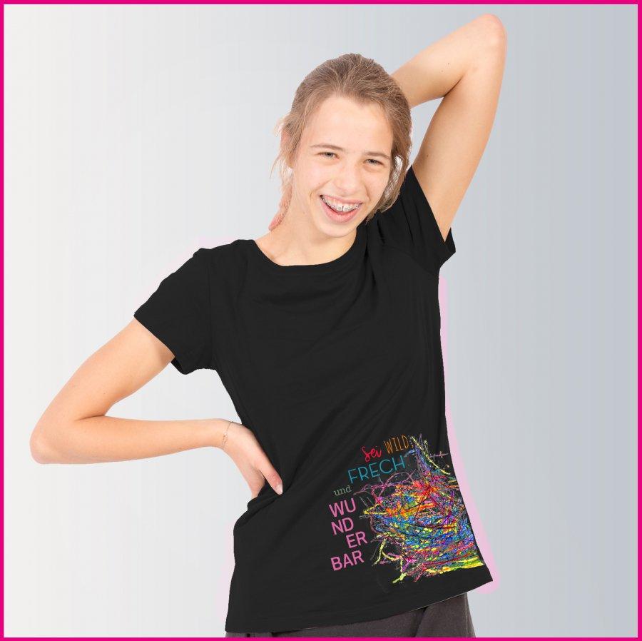"Produktfoto Frauen T-Shirt mit dem Motiv ""Farbenfrech"" von Michaela Kollarik"
