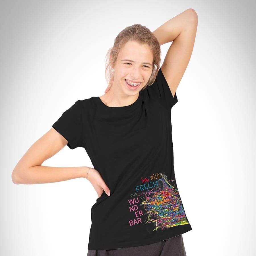 Farbenfrech Damen T-Shirt schwarz