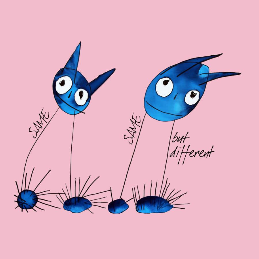 """Zwei Strichmännchen mit zwei langen Beinen und großen Köpfen in blau. Der Künstler nennt sie wegen der großen spitzen Ohren Katzen. Die Katzen haben blaue Schuhe, fröhliche Gesichter mit großen Augen und neigen sich beide nach rechts. Dadurch entsteht der der Eindruck der Gemeinsamkeit. Daher auch der passende Spruch dazu """"Same same but different""""."""