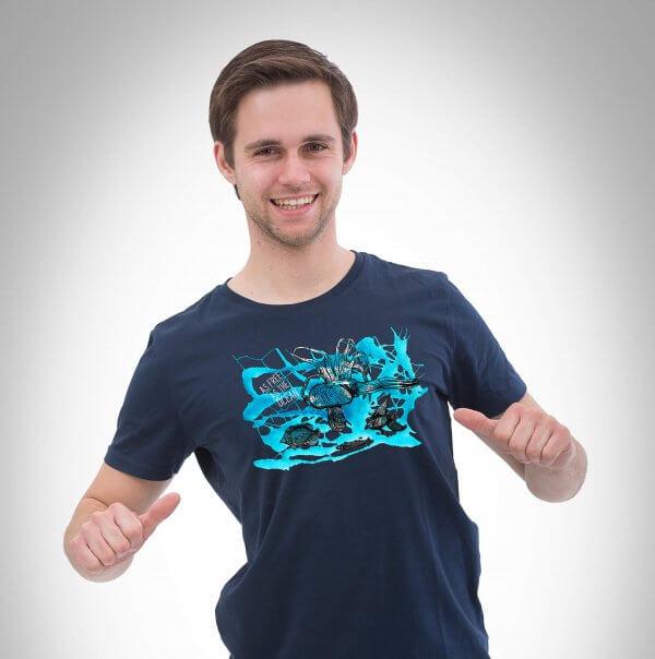 Unterwasser Herren T-Shirt dunkelblau