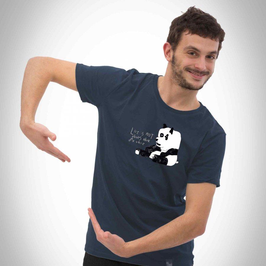 Motiv Der kleine Panda auf dunkelgrauen Männer T-Shirt