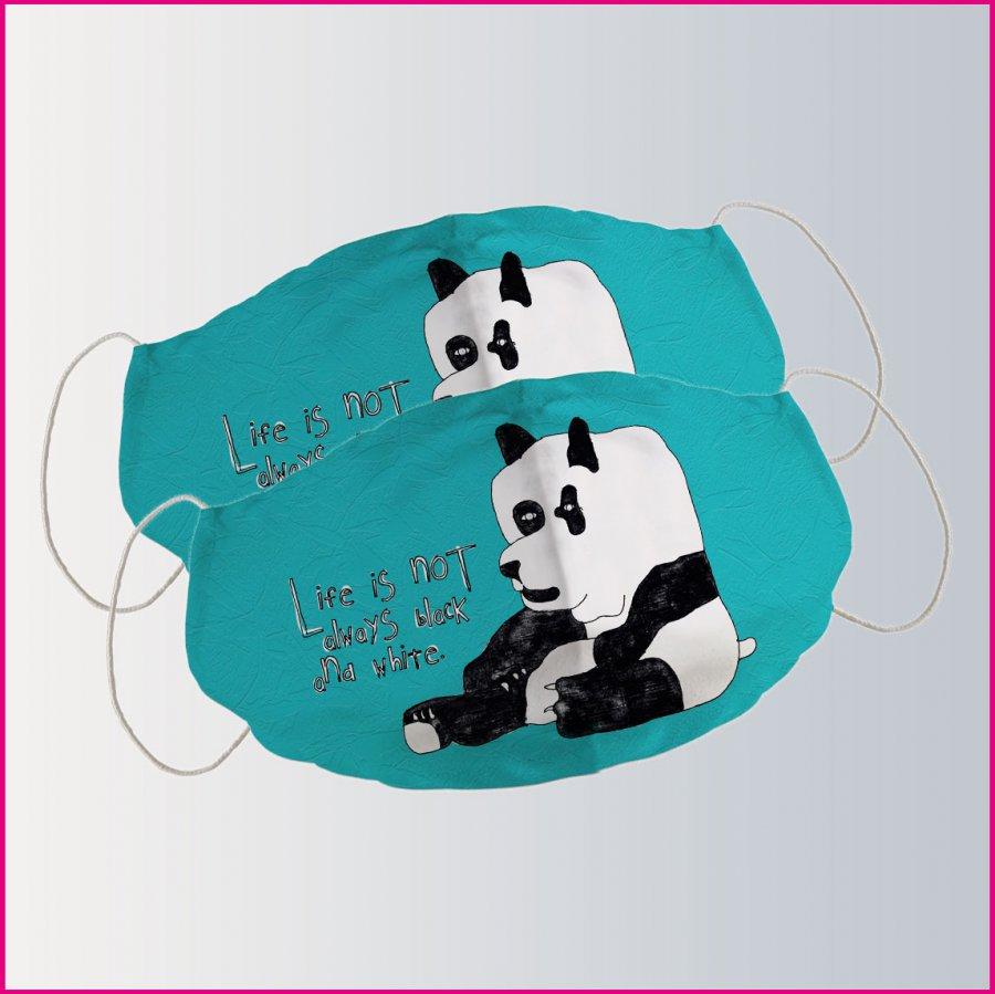 """Produktbild Miundnasenschutz mit dem Motiv """"Der kleine Panda"""" von Albert Masser"""