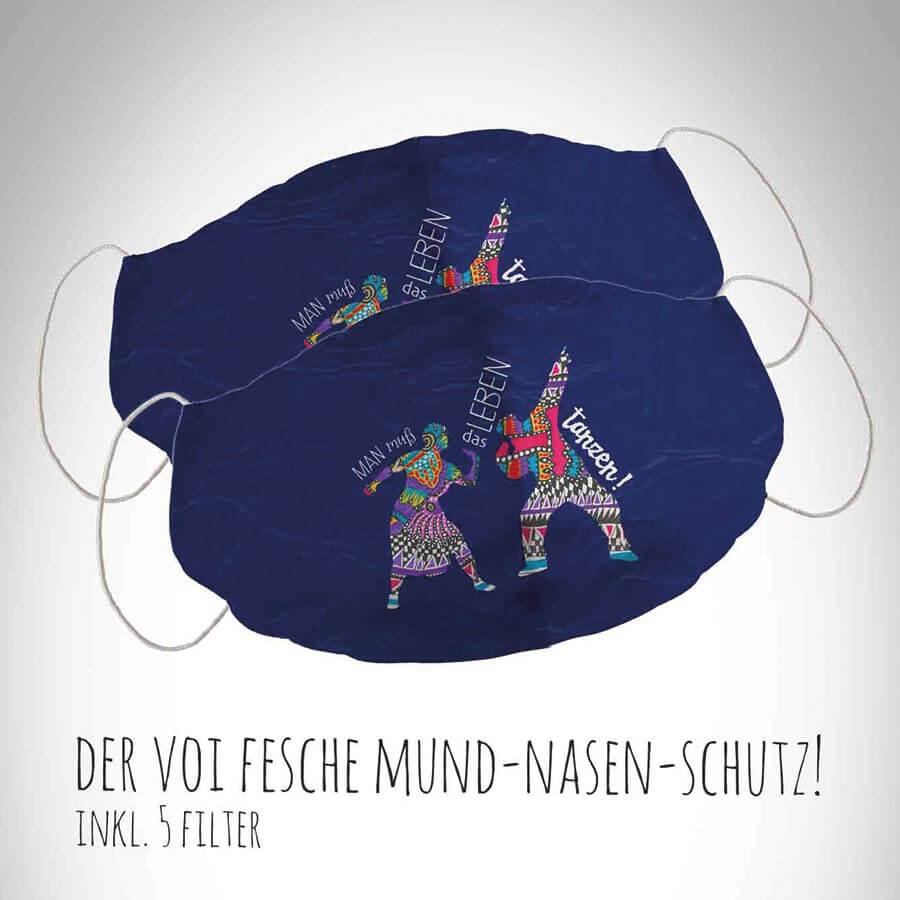 Mund-Nasen-Schutz Motiv Tanz dein Leben dunkelblau