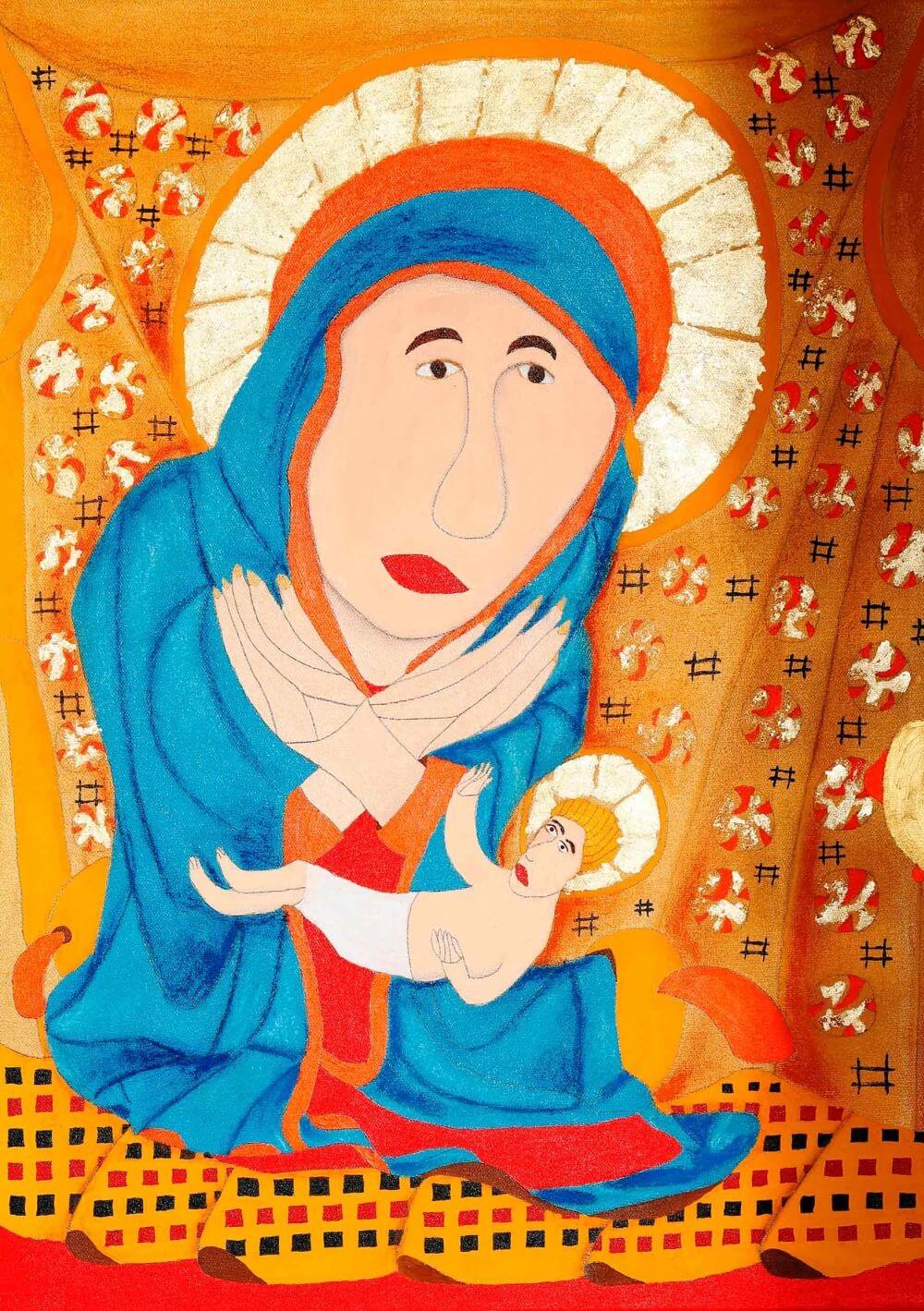 Maria hält das Jesukind. Beide haben einen Heiligenschein.
