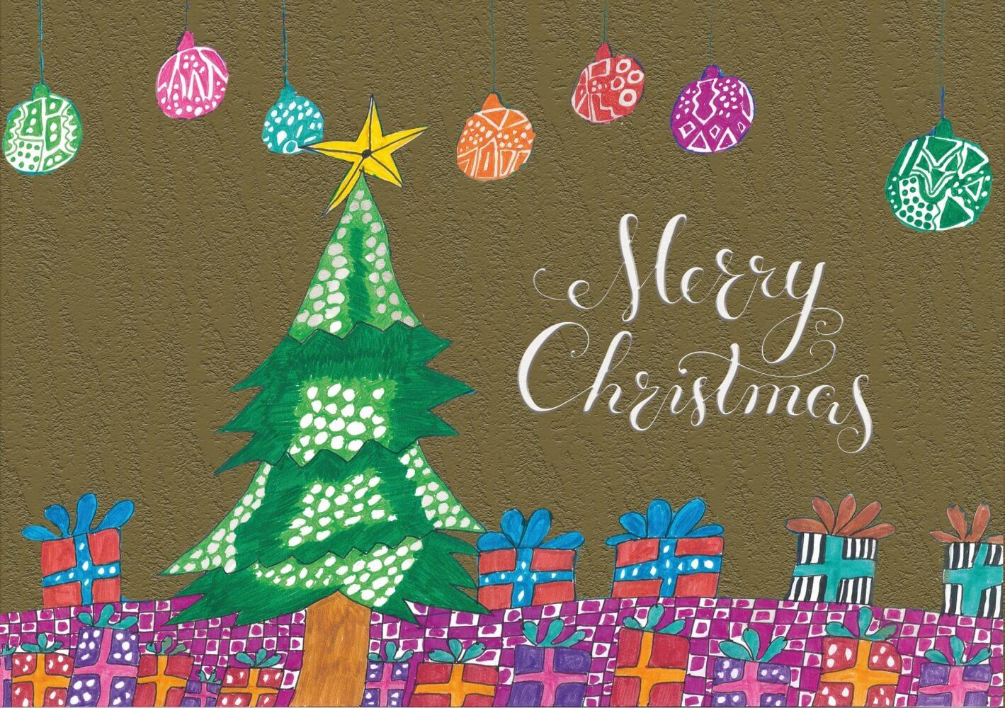 Ein Weihnachtsbaum mit großem Stern, viele Geschenke und Christbaumkugeln