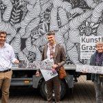 Gerald Bucher von Servoking mit Künstler Jörg Rath und Kuratorin Katie Huemer