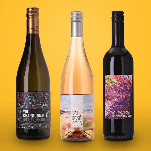 3 Weine von 9 Weine mit voi VOI fesch gestalteten Etiketten