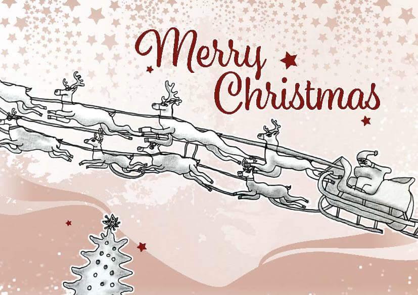 """Weihnachtskartenmotiv """"Der Weihnachtsschlitten"""" von Albert Masser"""