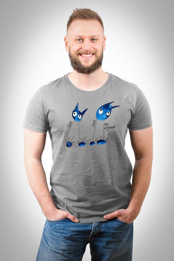 VOI fesch Heren T-Shirt in heather grey mit dem Kunstwerk Der Sturm von Moritz Mittelbach
